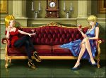 2girls ahoge android_18 black_legwear blue_eyes breasts candle cleavage clock couch crossed_legs crossover cup dragon_ball dragon_ball_z dress fate/stay_night fate_(series) green_eyes hair_ribbon high_heels highres multiple_girls pantyhose ribbon saber shoes short_hair sitting wine_glass