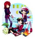 backwards_hat baseball_cap black_hair blue_eyes blue_hair cabbie_hat chikorita crystal_(pokemon) cyndaquil goggles gold_(pokemon) grey_eyes hat hk_(nt) hoodie laughing overalls pants pokemon pokemon_(creature) pokemon_special redhead shirt shoes silver_(pokemon) sitting standing thigh-highs totodile twintails white-thighhighs yellow_eyes