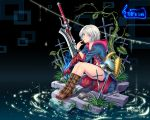 cross devil_bringer devil_may_cry devil_may_cry_4 genderswap nero_(devil_may_cry) short_hair silver_hair sitting solo sword tidsean water weapon