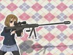 :o barrett bipod gun hair_ornament hairclip hirasawa_yui k-on! pantyhose rifle school_uniform scope skirt sniper_rifle toy_color weapon