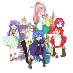 apple cosplay dress fish food fruit grimm's_fairy_tales highres hiiragi_kagami hiiragi_tsukasa hood hotaru_(4811) izumi_konata kuroi_nanako little_match_girl little_red_riding_hood little_red_riding_hood_(grimm) lucky_star match_box mermaid monster_girl poorly_drawn snow_white snow_white_(grimm) snow_white_and_the_seven_dwarfs takara_miyuki the_little_mermaid the_little_mermaid_(andersen)