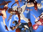 baiken bare_shoulders beard boots breasts brown_eyes brown_hair chipp_zanuff cleavage detached_sleeves elbow_gloves facial_hair fingerless_gloves gloves guilty_gear headband high_heels japanese_clothes kiseru kuradoberi_jam large_breasts legs long_hair miniskirt monocle ninja order_sol pants pink_hair pipe scar scarf shoes skirt slayer slayer_(guilty_gear) sol_badguy sword ultra00 vampire venom_(guilty_gear) very_long_hair weapon white_hair wink