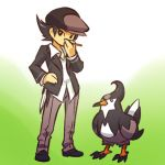 1boy bird cabbie_hat hand_on_hip hat hitec jacket moemon personification pokemon pokemon_(creature) pokemon_(game) pokemon_dppt solo staravia