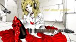 armor blonde_hair breasts choker cross dress electric_guitar green_eyes headphones jacket jewelry legs long_hair microphone necklace original red_dress solo thigh-highs woman