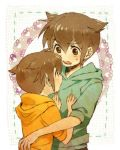 blush brown_eyes brown_hair endou_mamoru holding hoodie inazuma_eleven male short_hair