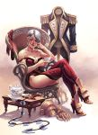 armor boots breasts chair cleavage crossed_legs cup elbow_gloves epaulettes gloves isabella_valentine large_breasts lips simon_eckert sitting solo soul_calibur soulcalibur sword tea thigh-highs thigh_boots thighhighs weapon whip_sword white_hair