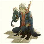 blue_rose_(gun) cat claws devil_bringer devil_may_cry devil_may_cry_4 lowres male nero_(devil_may_cry) red_queen_(sword) sword weapon white_hair