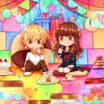 1boy 1girl blonde_hair brown_eyes brown_hair chibi eating fate/extra_ccc fate_(series) female_protagonist_(fate/extra) fork gift gilgamesh long_hair motiumai red_eyes school_uniform sweets