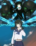 4chan black_rock_shooter dead_master drawfag evoker green_eyes gun gun_to_head horns long_hair midriff navel pale_skin parody persona persona_3 scyte scythe shorts skirt skull smile takanashi_yomi weapon
