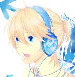 blonde_hair blue_eyes colored headphones highres kagamine_len open_mouth vocaloid