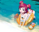 futari_wa_precure hair_bobbles hair_ornament innertube maeashi milk_(precure_5) nuts ocean pink_eyes pink_hair precure purple_eyes swimsuit syrup_(precure_5) two_side_up water yes!_precure_5 yumehara_nozomi