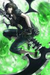 black_rock_shooter capri_pants chourui_keiko collar dead_master gauntlets green_eyes highres horns open_mouth scythe skull solo wings