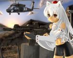 alternate_hairstyle animal_ears assault_rifle barbed_wire bike_shorts crop_top detached_sleeves eotech fingerless_gloves gloves gun hat helicopter inubashiri_momiji long_hair m4_carbine midriff navel red_eyes rifle solo tail taut_shirt tokin_hat touhou u.s.m.c uh-60_blackhawk weapon white_hair wolf_ears wolf_tail