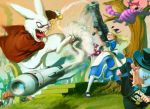 alice_(wonderland) alice_in_wonderland battle blonde_hair bunny cat cheshire_cat cuson dress forest hair_ribbon laughing long_hair mad_hatter monocle mushroom nature open_mouth pantyhose pocket_watch rabbit ribbon rocket rocket_launcher smoke stairs tree watch weapon white_rabbit