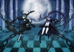 absurdres black_rock_shooter black_rock_shooter_(character) boots capri_pants chain checkered checkered_floor dead_master dress glowing_eye highres hooded_jacket horns jacket katana multiple_girls navel pale_skin shorts sword twintails uneven_twintails variy weapon wings