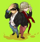2boys alternate_costume barnaby_brooks_jr blonde_hair brown_eyes brown_hair cabbie_hat facial_hair glasses green_eyes hat kaburagi_t_kotetsu katou_setsuko multiple_boys scarf stubble tiger_&_bunny