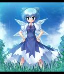 blue_eyes blue_hair bow cirno grass hair_bow hands_on_hips highres letterboxed short_hair smile solo takeponi touhou wings