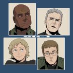 bald black_eyes blonde_hair blue_eyes brown_hair daniel_jackson dark_skin go_robots grey_hair highres intro jack_o'neill jack_o'neill military military_uniform oldschool parody richard_dean_anderson samantha_carter science_fiction stargate_sg-1 teal'c teal'c the_brady_bunch tv_show uniform
