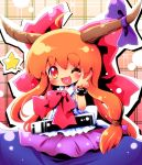 :3 ayakashi_(monkeypanch) blush brown_hair cuff cuffs fang heart heart_in_mouth highres horn_ribbon horns ibuki_suika long_hair orange_hair red_eyes ribbon smile solo star touhou v wink