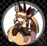 brown_hair bugs_bunny bunny_ears bunnysuit fishnet_pantyhose fishnets gourd grin horns ibuki_suika kneeling koutamii long_hair looney_tunes pantyhose rabbit_ears red_eyes smile touhou tray