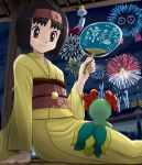 bellossom black_hair brown_eyes chimecho erika_(pokemon) fan fireworks hairband japanese_clothes kimono poke_ball pokemon pokemon_(game) pokemon_gsc short_hair soara surskit tangela