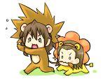 animal_costume biting brown_hair chibi edasaki_banri kiyama_harumi lion lion_costume long_hair piku short_hair tail to_aru_kagaku_no_railgun to_aru_majutsu_no_index