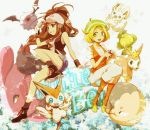 alomomola baseball_cap bel_(pokemon) bell_(pokemon) blonde_hair blue_eyes brown_hair deerling denim denim_shorts green_eyes hat hirococo hirococo_(hakka) minccino musharna orange_legwear pantyhose poke_ball pokemon pokemon_(game) pokemon_black_and_white pokemon_bw ponytail sewaddle shorts touko_(pokemon) v victini woobat zorua