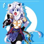 1boy :o animal_ears anthro armor blue_background blue_eyes cat_ears cat_tail fang forehead_jewel furry gloves hand_on_hip kyousaku lowres male mygrimoire original pointing purson_(mygrimoire) shadow shirt shorts solo tail white_hair white_skin