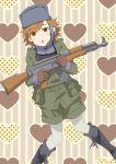 akm assault_rifle gun hat headset heart hiropoo military military_uniform misaka_imouto operator pantyhose rifle to_aru_majutsu_no_index uniform weapon