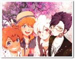 4boys amemiya_taiyou bespectacled blush bou_erika brown_hair glasses grin hakuryuu_(inazuma_eleven) inazuma_eleven_(series) inazuma_eleven_go jewelry male matsukaze_tenma multiple_boys necklace open_mouth orange_hair purple_hair red_eyes smile tsurugi_kyousuke v white_hair wink yellow_eyes