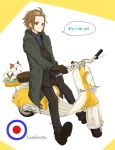 brown_eyes brown_hair cat english gloves gogono_pan'ya gogono_panya k-on! motor_vehicle scooter short_hair tainaka_ritsu trench_coat vehicle