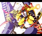 blonde_hair claws damaged diablomon digimon digimon_adventure fire greaves green_eyes highres horns red_hair redhead takayuuki veins wargreymon yellow_eyes