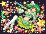 amano_(tsubakicome) bow cake candy food frills gathers green_hair hat heart lollipop macaron macross macross_frontier midriff mini_top_hat nail_polish_bottle navel pastry pocky ranka_lee red_eyes short_hair smile solo star thigh-highs thighhighs top_hat