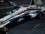 flightsuit gunpod hangar helmet highres macross macross_frontier mecha open_cockpit pilot_suit s.m.s. saotome_alto thumbs_up vf-25
