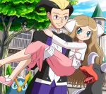 :t blonde_hair blush bowtie brown_hair butler carrying cattleya_(pokemon) dress formal frontier_brain glasses gloves green_eyes hair_ribbon houndoom kokuran_(pokemon) long_hair multicolored_hair pokemon princess_carry prinplup ribbon soara staravia suit two-tone_hair wavy_hair