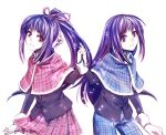 dual_persona fujisaki_nadeshiko fujisaki_nagihiko hair_ribbon holding_hands kori_(etinop) long_hair plaid ponytail purple_eyes purple_hair ribbon school_uniform shugo_chara! skirt tartan trap violet_eyes