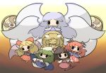 bat_wings cape chibi elis_(touhou) everyone eyes hat highly_responsive_to_prayers horn horns kikuri kikuri_(touhou) konngara mima multiple_girls multiple_wings no_legs saku_(osake_love) sariel shingyoku touhou wings yuugenmagan