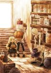 bad_id blonde_hair book bottle carrying cat child closed_eyes door long_hair morikawa_sumio original shelves stair stairs vase