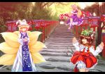 blonde_hair bloomers bow brown_hair cat_ears cat_tail chen closed_eyes earrings elbow_gloves eyes fang forest fox_tail gap gloves hair_bow hands_in_sleeves hat hat_ribbon high_heels jewelry lamppost long_hair multiple_tails nature qontamblue ribbon shoes short_hair stairs tail touhou tree yakumo_ran yakumo_yukari yellow_eyes