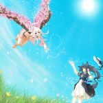 absurdres ahoge animal_ears bare_shoulders barefoot belt blue_hair bow brown_eyes cherry_blossoms detached_sleeves dress dutch_angle flower flying fuwayu grass hat highres jewelry multiple_girls original outstretched_hand petals reaching red_eyes ribbon ring sky smile sun tail white_hair wind wings yuri