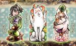 amaterasu animal black_hair blonde_hair blush bow cape dress flower geta helmet issun japanese_clothes leaf long_hair male minimaru nut okami open_mouth smile sword ushiwakamaru veil weapon wolf