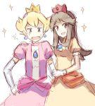 1boy 1girl blonde_hair blue_(pokemon) blue_eyes brown_eyes brown_hair commentary cosplay crossdressing crown dress earrings elbow_gloves gloves jewelry long_hair open_mouth pearl_(pokemon) pokemon pokemon_special princess_daisy princess_daisy_(cosplay) princess_peach princess_peach_(cosplay) raemz sparkle super_mario_bros. weee weee_(raemz)
