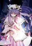 azuma_shoujuan book bow capelet finger_to_mouth frills hair_bow hair_ribbon hat long_hair magic_circle patchouli_knowledge purple_eyes purple_hair ribbon solo squinting touhou violet_eyes