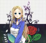 blonde_hair blue_eyes breasts fish flower goma-meso highres long_hair meso_(goma-meso) nino_(arakawa) red_rose rose solo
