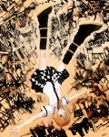 blink checkered checkered_skirt falling full_body kagamine_rin leg_warmers nobusnow outstretched_arms smile solo spread_arms tiger_rampage_(vocaloid) upside-down vocaloid wink