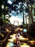 child chin_rest fish forest glowing goldfish japanese_clothes kimono nature original red_eyes ryouma_(888) scenery short_hair solo stairs torii white_hair