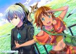 1boy 1girl amy_(suisei_no_gargantia) animal bag bird bodysuit brown_hair copyright_name fringe green_eyes ledo_(suisei_no_gargantia) mecha ocean red_eyes running seagull short_hair silver_hair suisei_no_gargantia