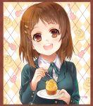 brown_hair cupcake fork head_tilt highres hirasawa_yui k-on! palepale saucer school_uniform short_hair