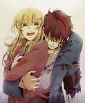 anchor androgynous blonde_hair blood brown_hair colored_eyelashes eyelashes hug hug_from_behind injury reverse_trap spoilers tears umineko_no_naku_koro_ni ushiromiya_leon ushiromiya_lion willard_h_wright