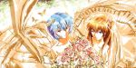 ayanami_rei bare_shoulders blue_eyes blue_hair bridal_veil bride butterfly dress flower long_hair multiple_girls neon_genesis_evangelion orange_hair red_eyes short_hair souryuu_asuka_langley stu_dts twintails veil wedding_dress